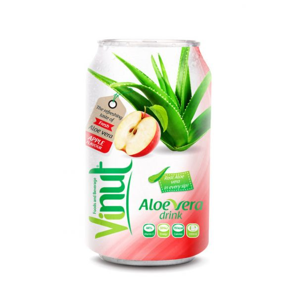 Cans Fresh Aloe vera drink with Apple Juice 330ml Pack of 24 1